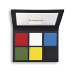 Mehron EDGE Face & Body Makeup - 6 Color Palette featuring White, Yellow, Green, Black, Red, and Blue.