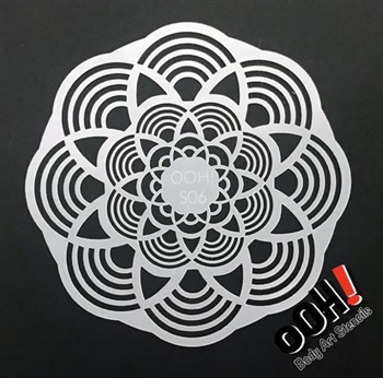 Mandala Sphere Face Paint Stencil for face painting and airbrush tattoos