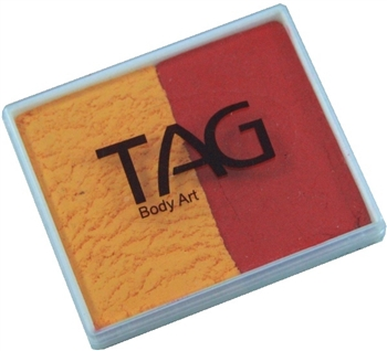 Tag tgolden orange and red 2 color split cake