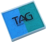 Tag teal and light blue 2 color split cake