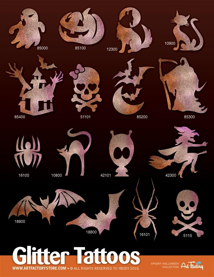 Spooky Halloween Glitter Tattoo Stencils - 80 Stencils