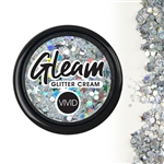 Vivid Heaven Chunky Glitter Cream of silver with a hologram flare.