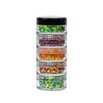 Vivid Tropical Stack Chunky Glitter Creams. Five 10gr stacked jars featuring Breeze, Maui, Lava Pool, Aloha & Wild Bloom