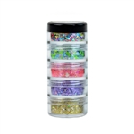 Vivid Festivity Stack Chunky Glitter Cream. Five 10gr stacked jars featuring Festivity, Sea of Glass, Mystic Melon, Purpose, & Gold Dust