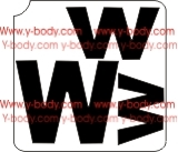 Capital and lower case letter W Adhesive Stencil for Face & Body Art