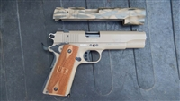 Cerakote / Duracoat camo finished painted stripped 1911 22lr slide in coyote tan with olive green high lights