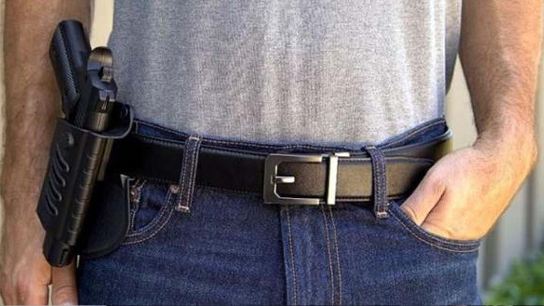 EDC reinforced gun belt for concealed and open carry allows for more