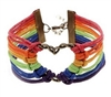 Rainbow cord bracelet with heart charm