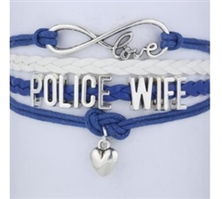 Navy blue and white POLICE WIFE cord bracelet