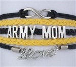 Black and yellow ARMY MOM cord bracelet