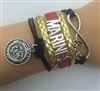 Black red and gold MARINES cord bracelet