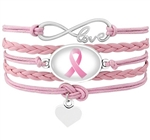 Pink cancer awareness cord bracelet with ribbon