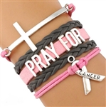 Pink and gray PRAY FOR cancer cord bracelet