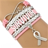 Pink and silver SURVIVOR cord bracelet