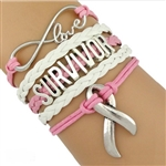 Pink and white SURVIVOR cord bracelet