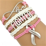 Pink and white FIGHTER cord bracelet
