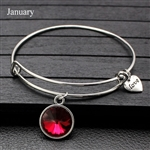 January birthstone charm bracelet