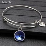 March birthstone charm bracelet
