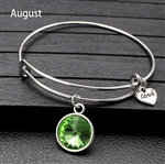 August birthstone charm bracelet
