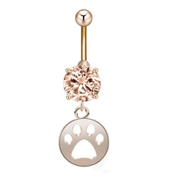 Gold rhinestone belly ring with paw