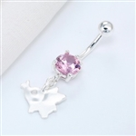 Silver rhinestone belly ring with elephant