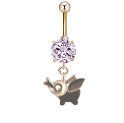 Gold rhinestone belly ring with elephant