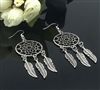 Silver dreamcatcher earrings with feathers
