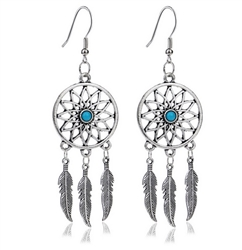 Silver dreamcatcher earrings with blue bead