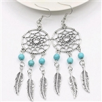 Silver dreamcatcher earrings with blue beads