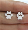 Silver paw print post earrings