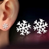 Silver snowflake post earrings