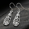 Silver teardrop patterned earrings