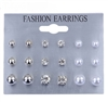 Set of 9 silver, pearl and rhinestone stud earrings