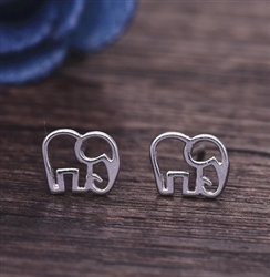 tiny silver elephant post earrings