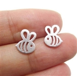 Tiny silver bee post earrings