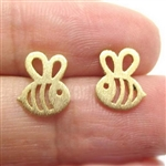Tiny gold bee post earrings