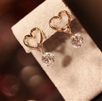 Gold heart with rhinestone earrings