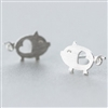 Tiny silver pig earrings