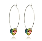 Hoop earrings with crystal hearts