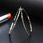 Silver hoop earrings with rhinestones