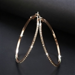 Gold hoop earrings with rhinestones