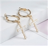 Gold hoop earrings with pearl cross