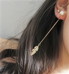 Pearl earrings with gold feather