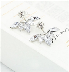 Silver earrings with rhinestones