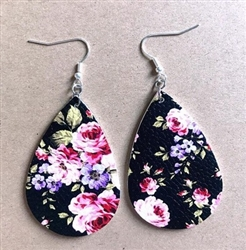 Black teardrop shape leather earrings with roses