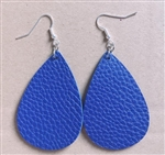 Blue teardrop shape leather earrings