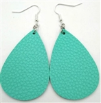 Sea green teardrop shape leather earrings