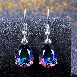 Gorgeous rainbow purple teardrop rhinestone earrings
