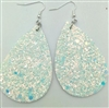 Leather teardrop shape earrings with white glitter