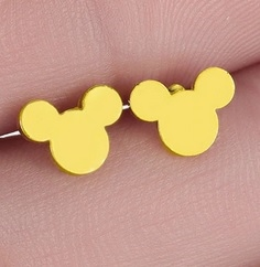 Tiny gold mouse earrings